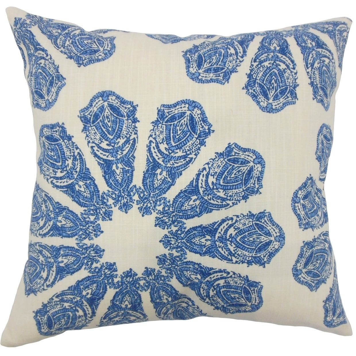 Ceilidh Ikat Down Filled Throw Pillow in Lapis (Rectangle - 12 x 18), Blue
