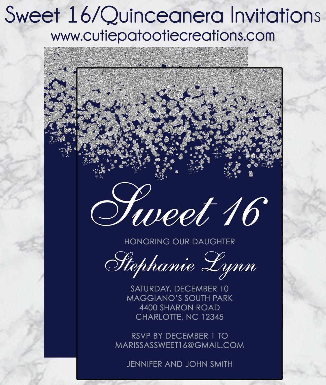 Sweet 16 Birthday Invitations Quinceanera Invitation Navy Blue