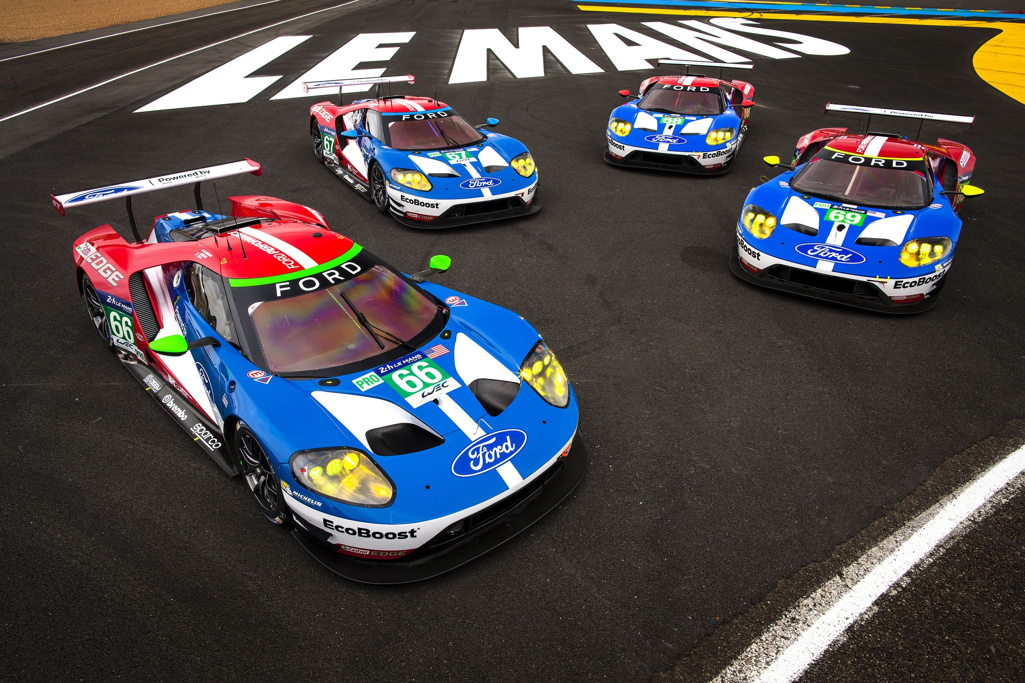 Four Ford Gt S Prepare For 24 Hours Of Le Mans On 50th Anniversary Of 1 2 3 Ford Gt Ford Le Mans Le Mans