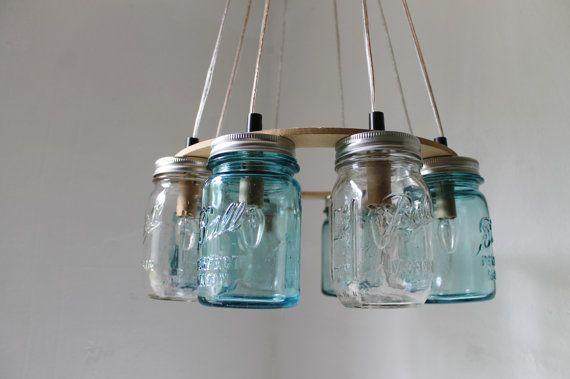 Mason Jar Chandelier, Beach House Mason Jar Lighting Fixture, Blue and Clear Jars, Hanging Pendant Light, BootsNGus Lighting, Bulbs Included