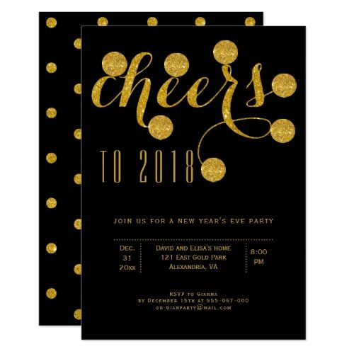 Cheers to 2018 black gold glitter new years party card 2018 new cheers to 2018 black gold glitter new years party card stopboris Choice Image