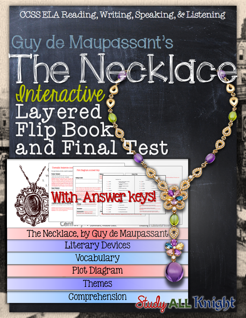 the necklace by guy de maupassant essay essay writing saywriting  the necklace short story literature guide flip book test and the necklace written by guy de