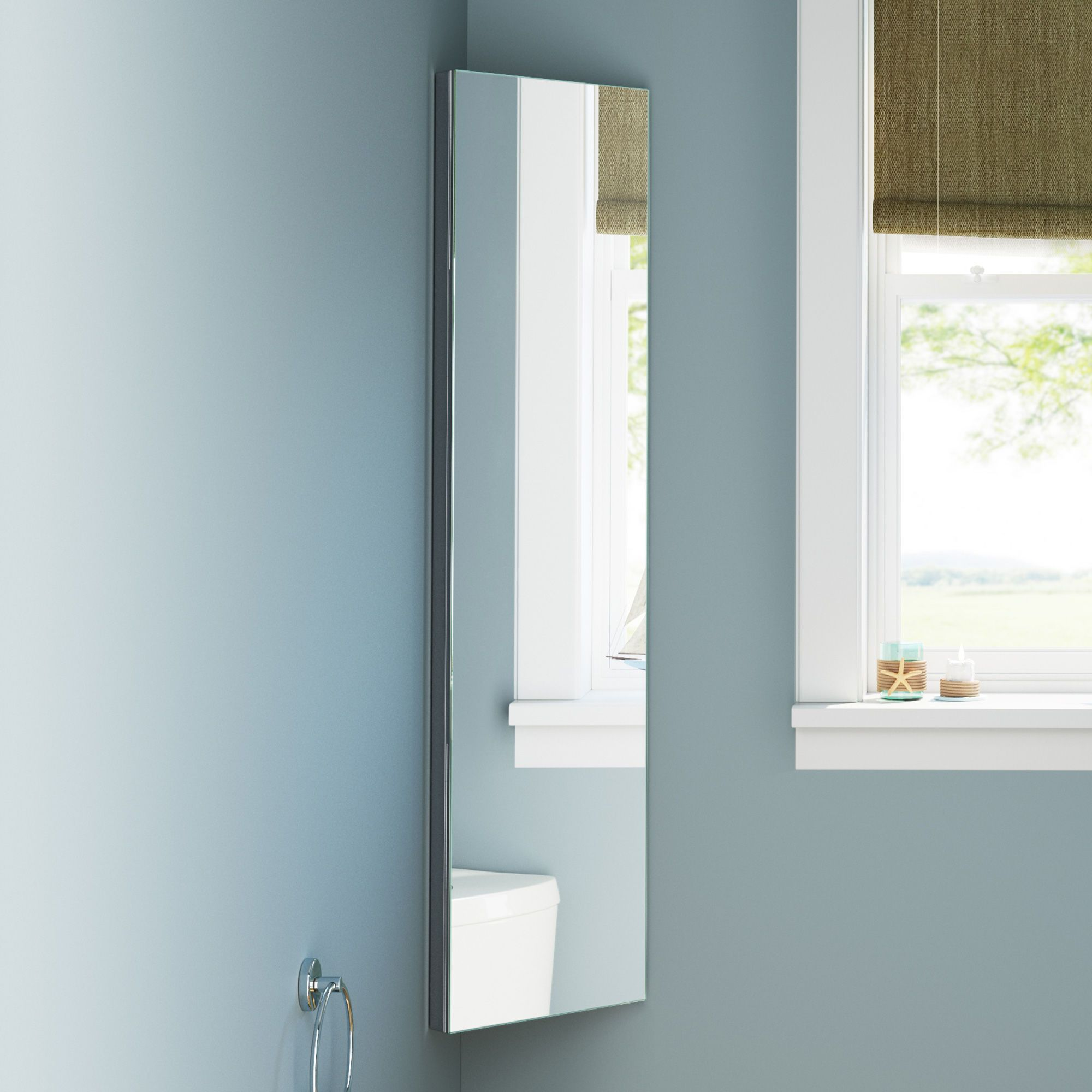 300x1200mm Liberty Stainless Steel Tall Corner Mirror Cabinet