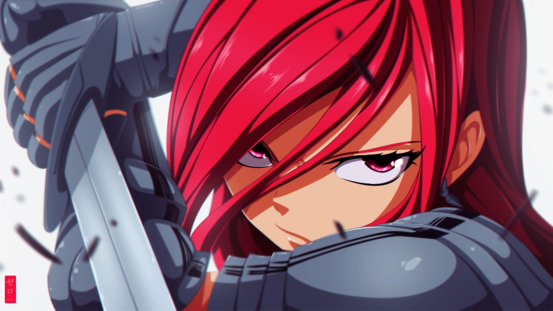 Erza Scarlet Girl Anime HD Wallpaper Zeroooart 1920×1080
