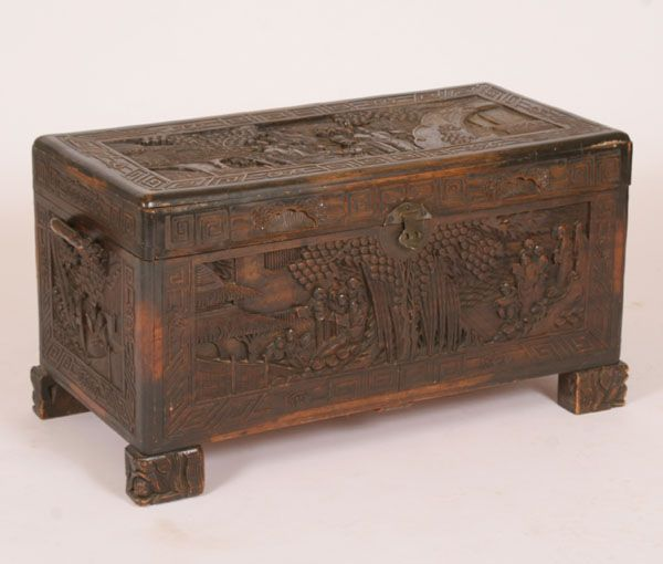 Chinese Carved Footed Camphor Chest Antique Trunk Wooden Chest Asian Decor Diy
