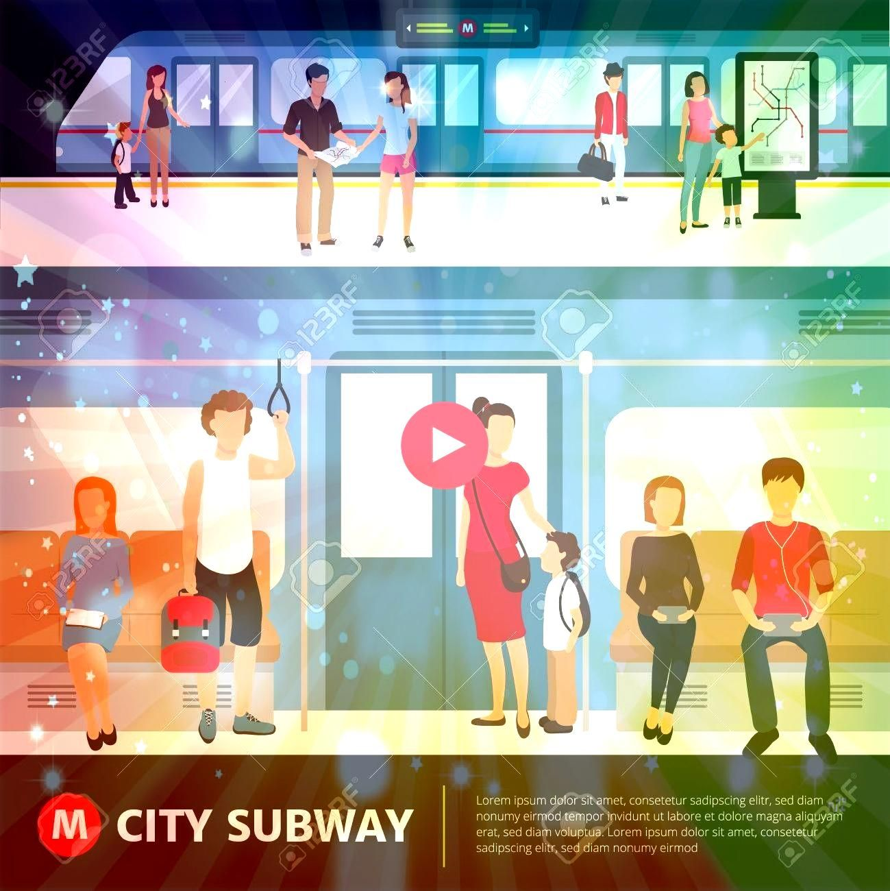 in city subway inside train and waiting at station flat vector illustration Illustration People in city subway inside train and waiting at station flat vector illustratio...