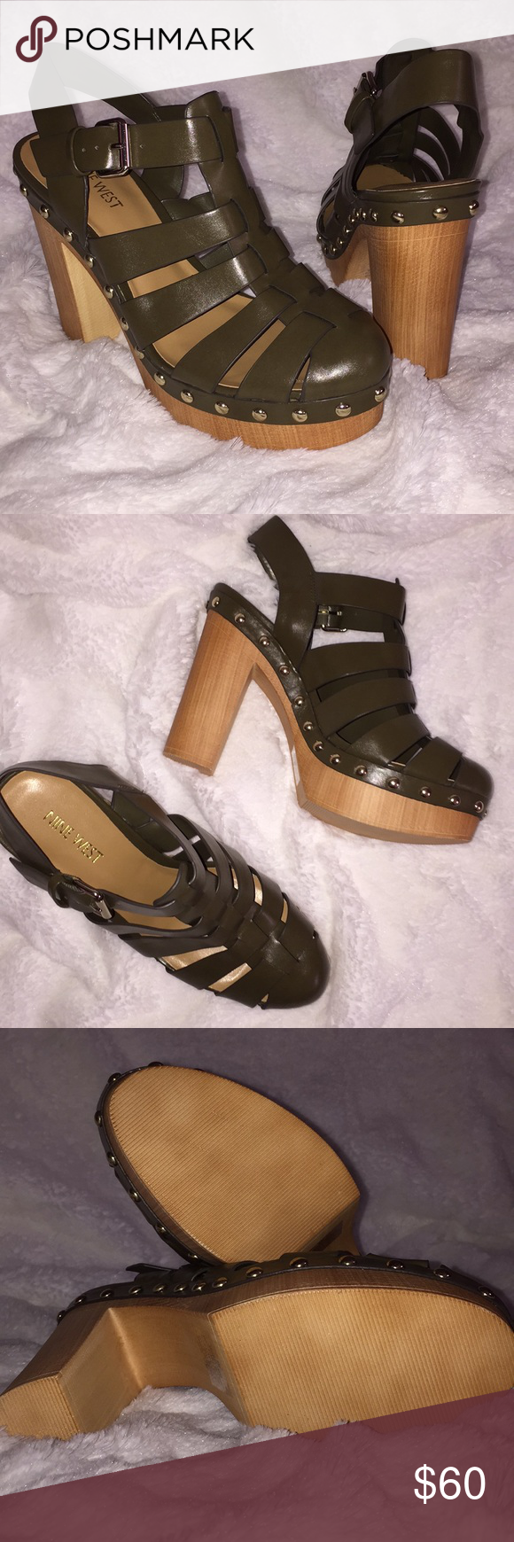 eb82d89c817 Nine West MODELME caged platform Sandals Brand new olive green with gold  details and buckle strap. It s 4 3 4 inch cubed heels with a 1 1 2 inch  platform ...