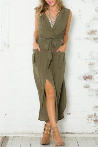 Stylish Army Green Sleeveless V Neck Split Pockets Women's Dress