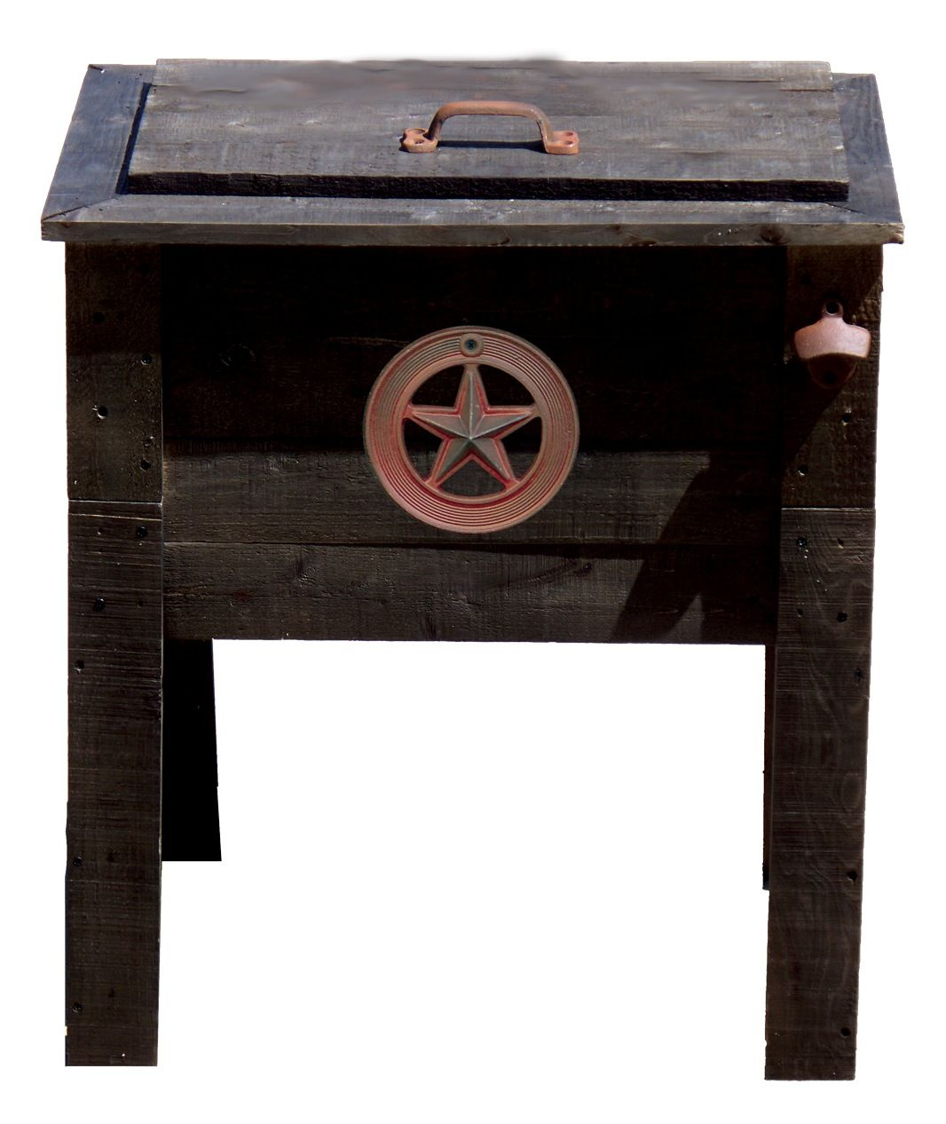 Outdoor Ventures 57 Qt Rustic Wooden Deck Cooler Star