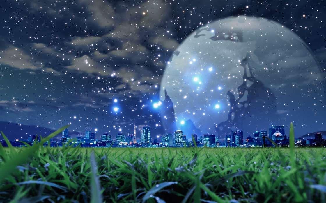 Fentezi Goroda Luna Nebo Noch Pejzazh Trava Zvezdy 25189 Jpg 1120 700 Planets Wallpaper Cool Backgrounds Night Scene