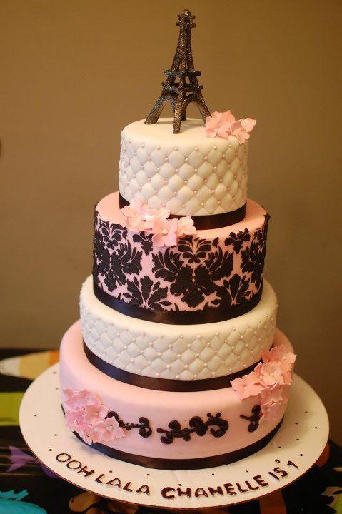 Pink and black Parisian cake