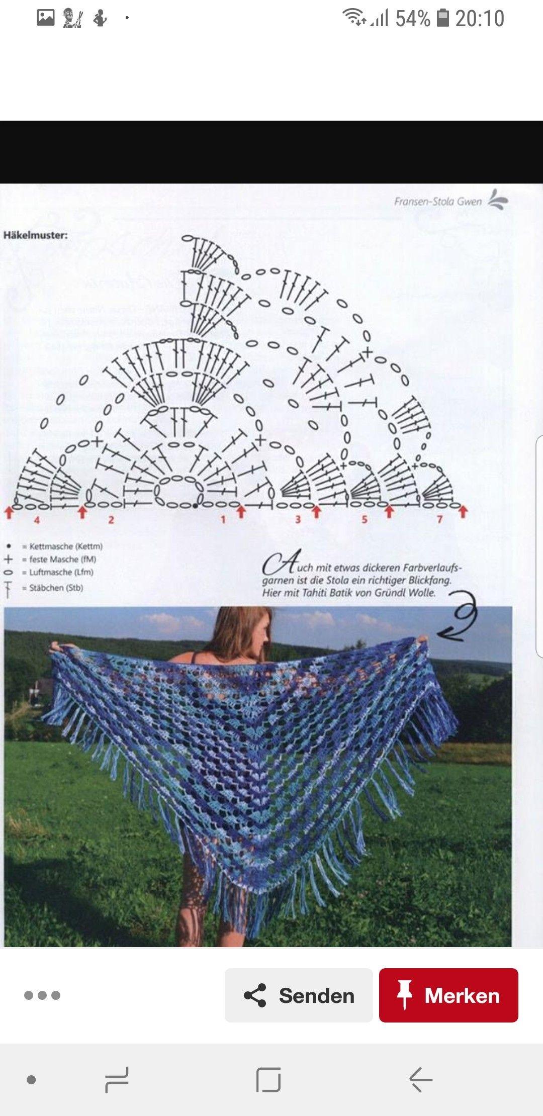 Pin de Miriam Utrilla en Tejido chalinas triángulo | Pinterest ...