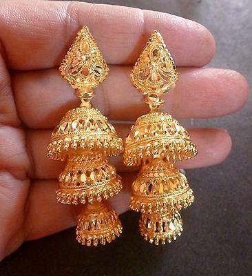 a3e02b902 22K Gold Plated 3 Steps Indian Bridal Party Jhumka Jhumki Earrings Set