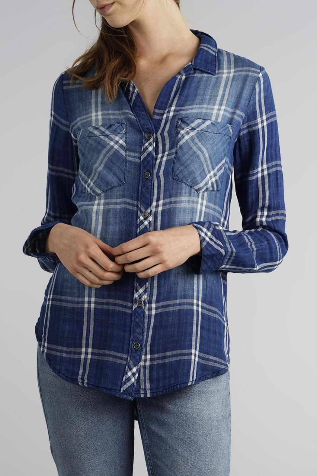 """Who needs a regular plaid shirt when you can have a plaid shirt with a denim faded look? This """"lived-in"""" top is a great way to spunk up your """"denim on denim"""" look without having to wear too much denim. Plaid Denim Shirt by Thread & Supply. Clothing - Tops - Blouses & Shirts Cleveland Ohio"""
