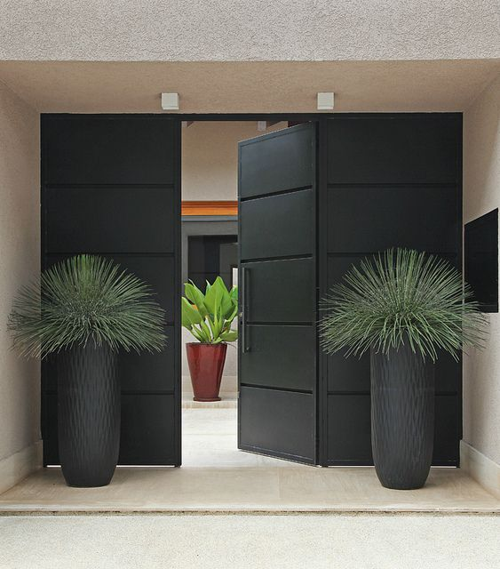 Contemporary tall planters by modern doorway. By Ana Paula Magaldi.  Repinned by www. - Structural Indoor Plant In Square Planters - Super Modern Way To