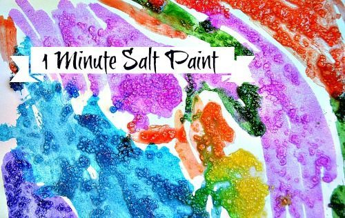 1 Minute Salt Paint Epsom Salts With Water Or Liquid Watercolors Salt Painting Art Activities Sensory Play Recipes