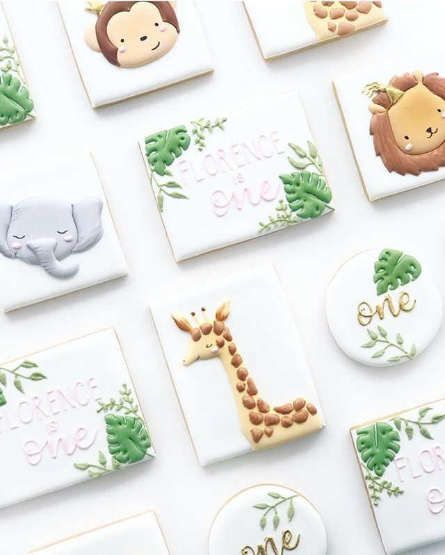 Perth Cookies Cakes On Instagram Florence S 1st Birthday Cookies In 2020 Safari Theme Birthday Safari Cookies Birthday Cookies