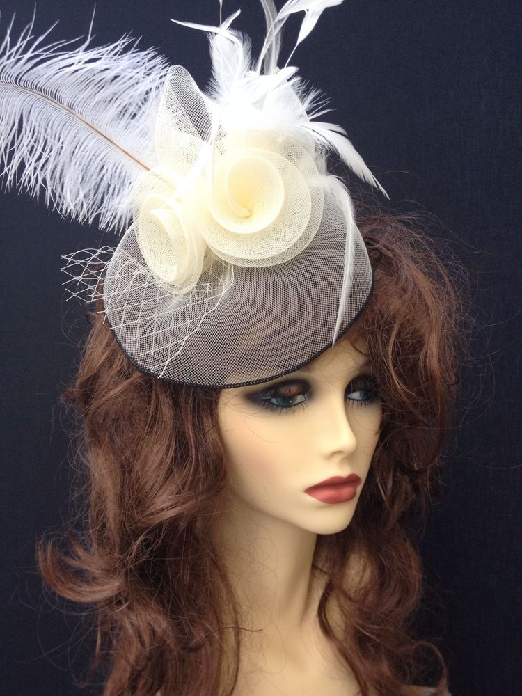 Beautiful Cream Black Large Feather Net Womens Fascinator Hat Weddings Races