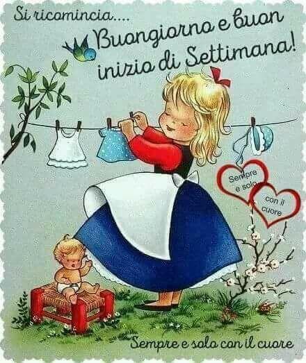 Buongiorno Buon Inizio Settimana Giorno Illustration Ancienne