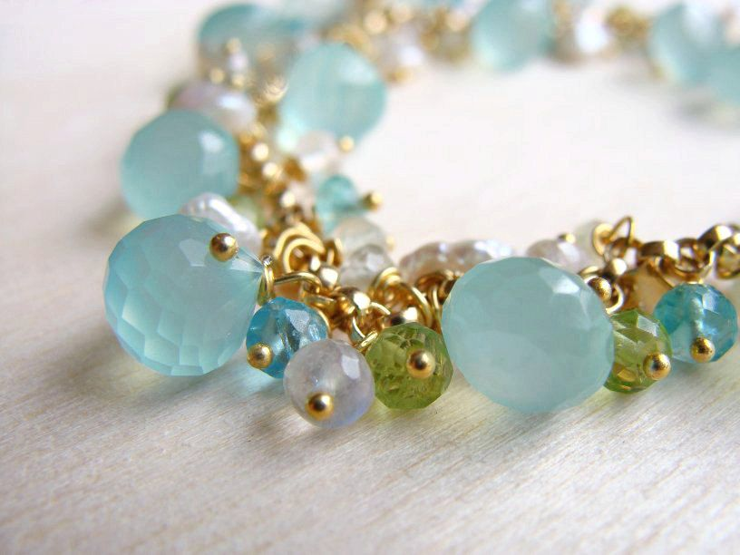 Aqua Chalcedony Bracelet, Beach Bracelet, Gemstone and Pearl Bracelet, Aqua Blue Bracelet, 14k Gold Filled, Gold Vermeil. $89.00, via Etsy.