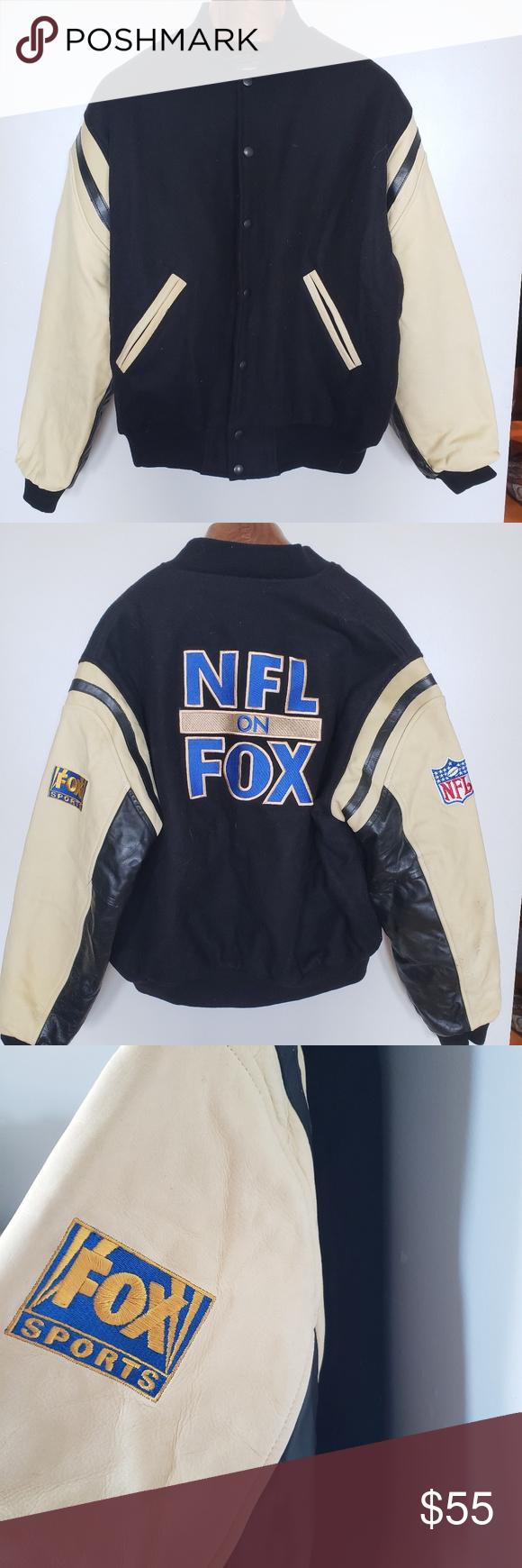 "NFL x FOX // vintage varsity letterman jacket • S i z e R e f e r e n c e • -Model: 5""2 • D e t a i l s • - wool & leather  -some signs ..."