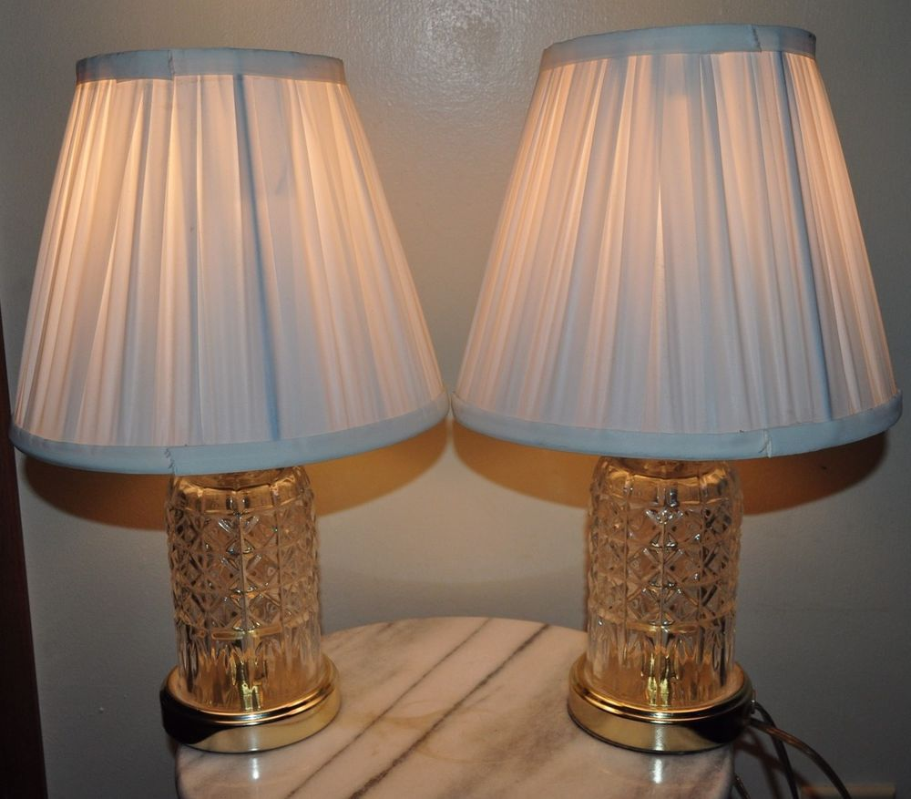 Pair of vintage underwriters laboratory solid glass brass tone table pair of vintage underwriters laboratory solid glass brass tone table lamps wow bedroom lamps pinterest bedroom lamps and ebay arubaitofo Choice Image