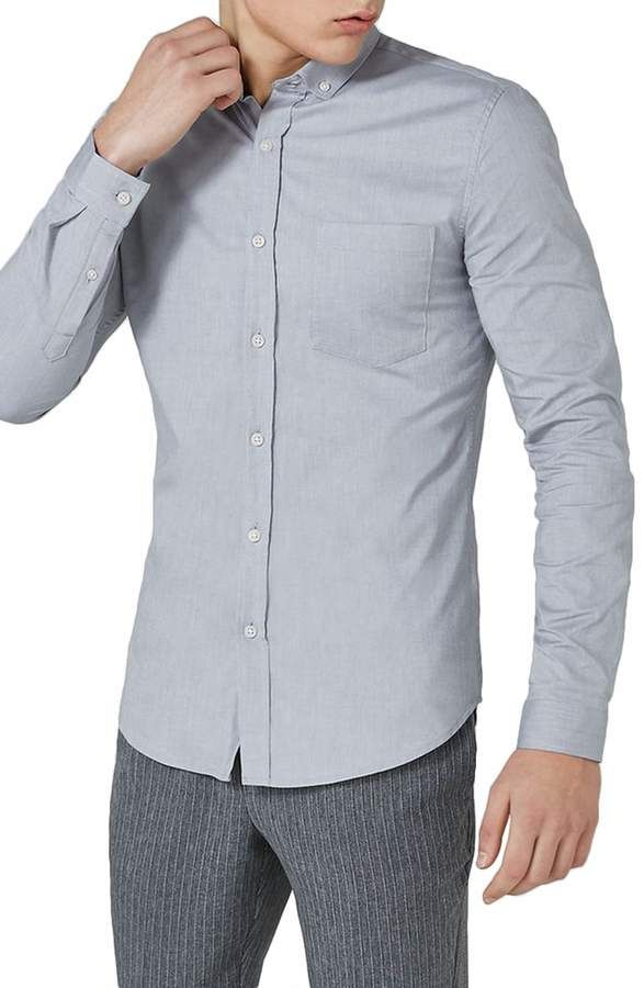 a88d1090d Topman Muscle Fit Oxford Shirt | Products | Oxford, Mens tops, Menswear