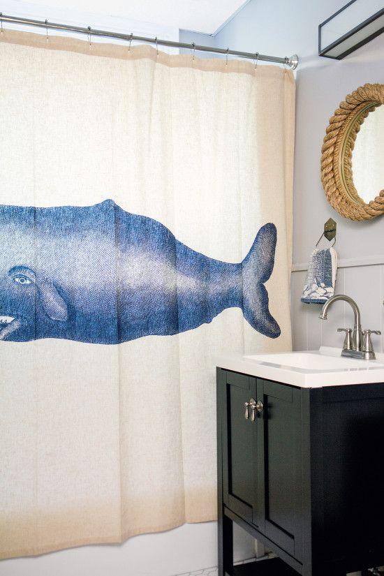 Thar She Blows Whale Shower Curtain Nautical Bath At The