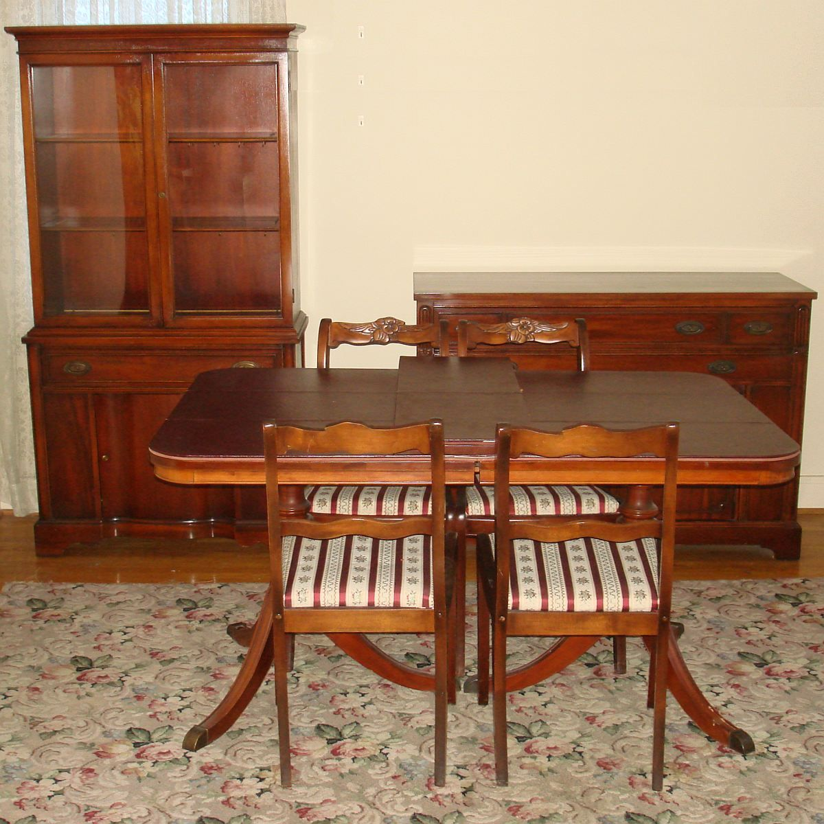 Bernhardt Duncan Phyfe Mahogany Dining Room Set Double Pedestal