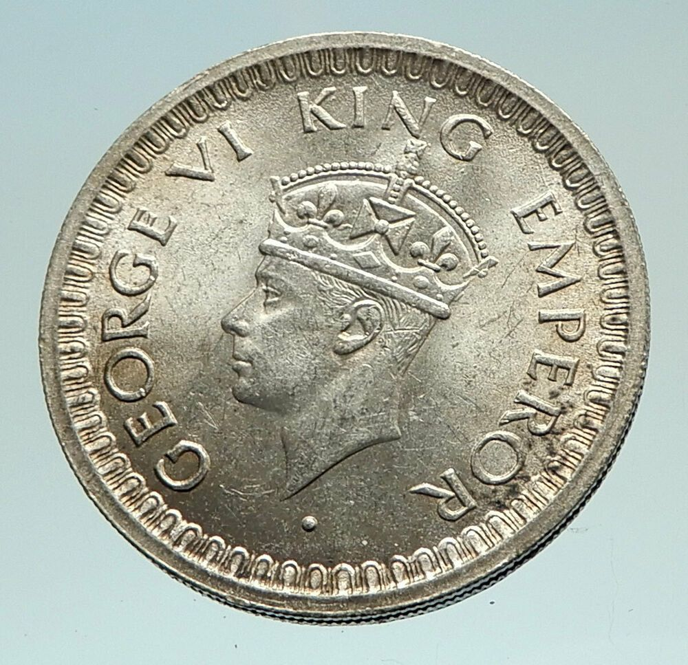 1944 India States Uk King George Vi Genuine Silver 1 2 Rupee Indian Coin I76968 George Vi King George Old Silver Coins