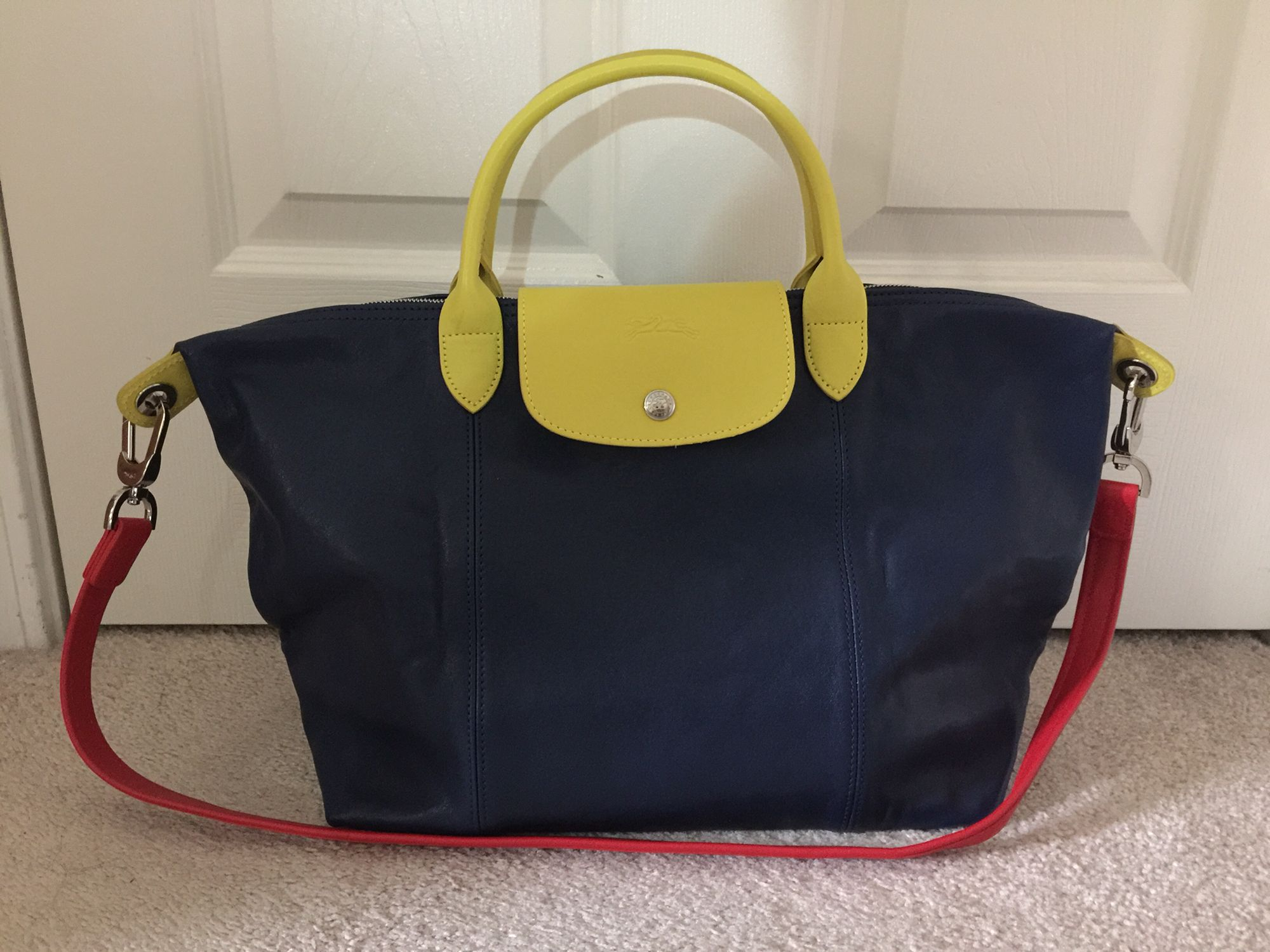 My very own tri-color Longchamp Le Pliage Cuir.
