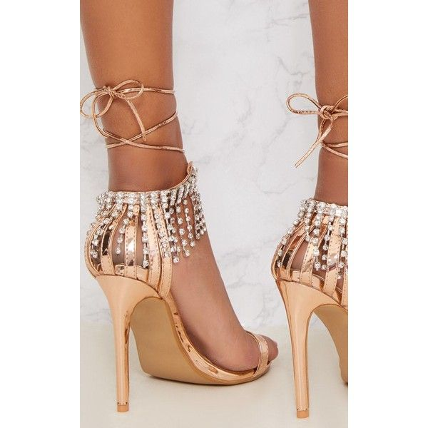 f045ba843ed2 Rose Gold Diamante Heel Sandals ( 42) ❤ liked on Polyvore featuring shoes