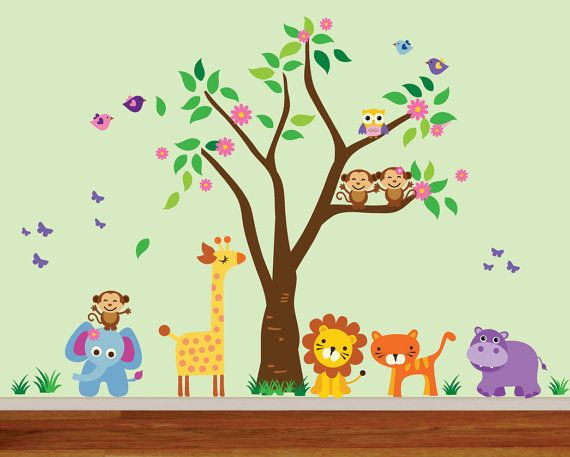 jungle tree reusable decal, childrens jungle animals wall decal
