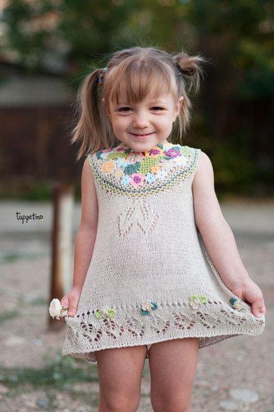 Summer knitted linen dress for little girls by IrinaShevko