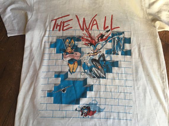 46af4e0f RARE Pink Floyd The Wall 1982 Tour T-Shirt Vintage 80s Band Tee Psychedelic  Rock and Roll Concert Music Festival No education Unisex Top .