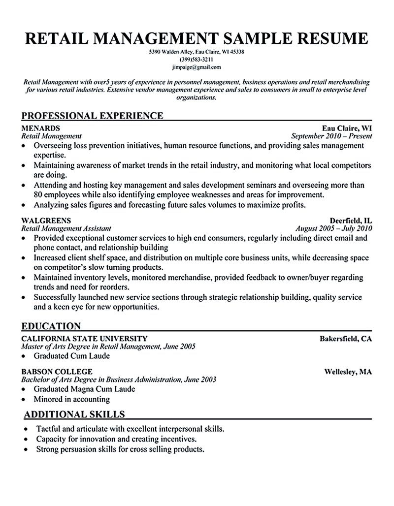 Retail Store Manager Resume Retail Manager Resume Is Made For