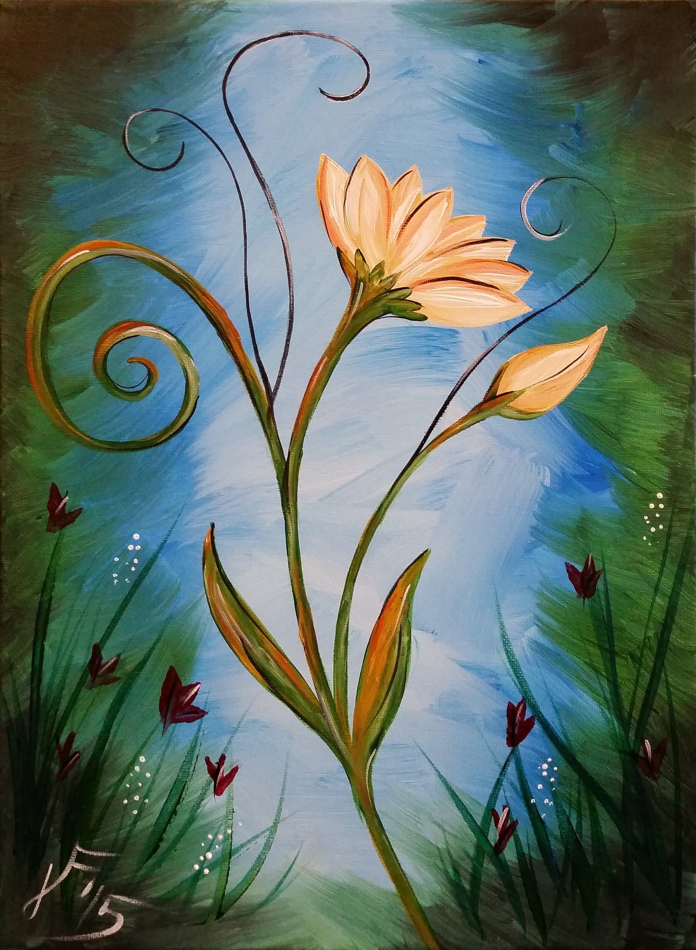 In this video i ll be showing you how to paint an for Simple flower paintings for beginners