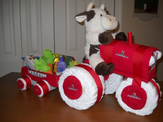 Farmall Tractor and Wagon Diaper Cake by ShelvasDiaperCakes, $75.00