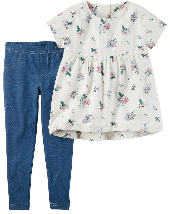 85d5e19be0721 Carter's Toddler Girl Carter's Floral Tunic & Jeggings Set #affiliate