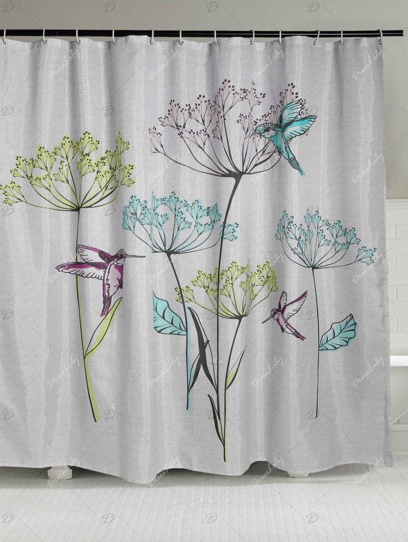 Bird Dandelion Print Waterproof Shower Curtain Curtains Shower