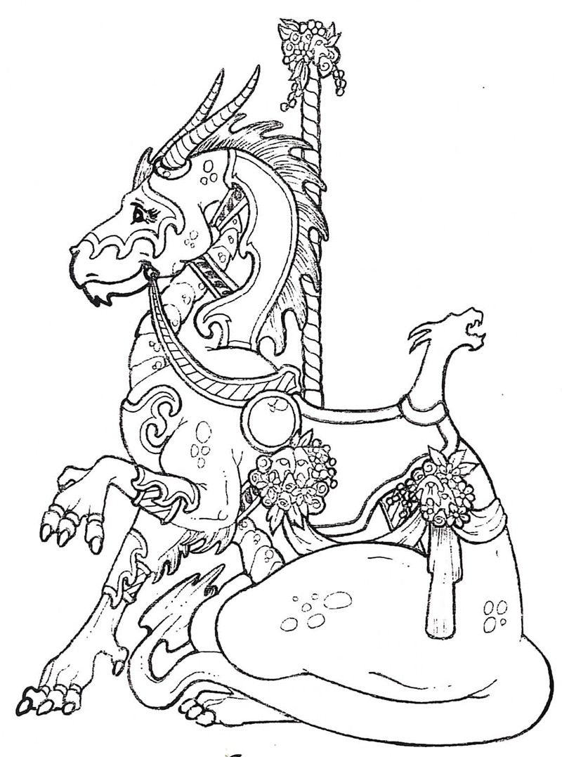 Uncategorized Carousel Animals Coloring Pages carousel dragon stamplistic stencilscoloring pages animal coloring pagesadult