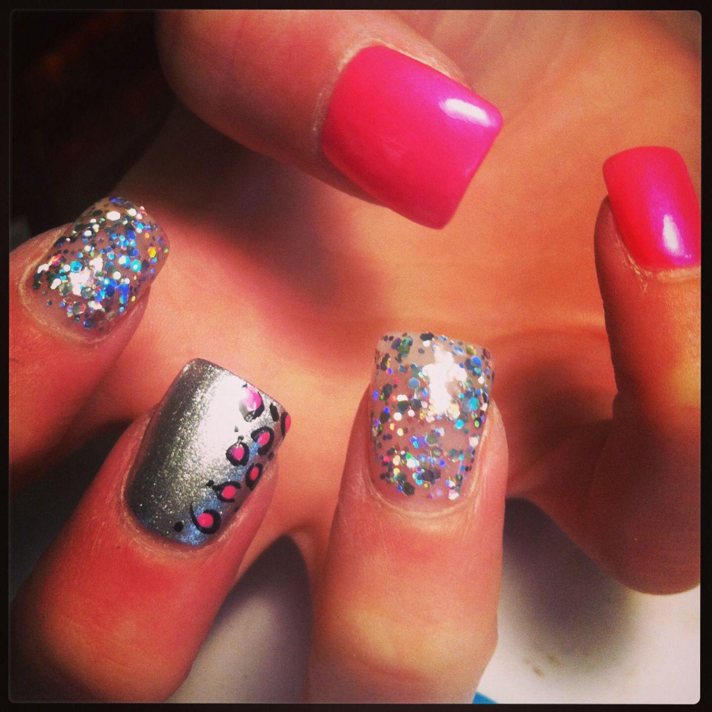 Wild. Nails. Acrylic. Pink. Multicolor. Glitter. Silver ...