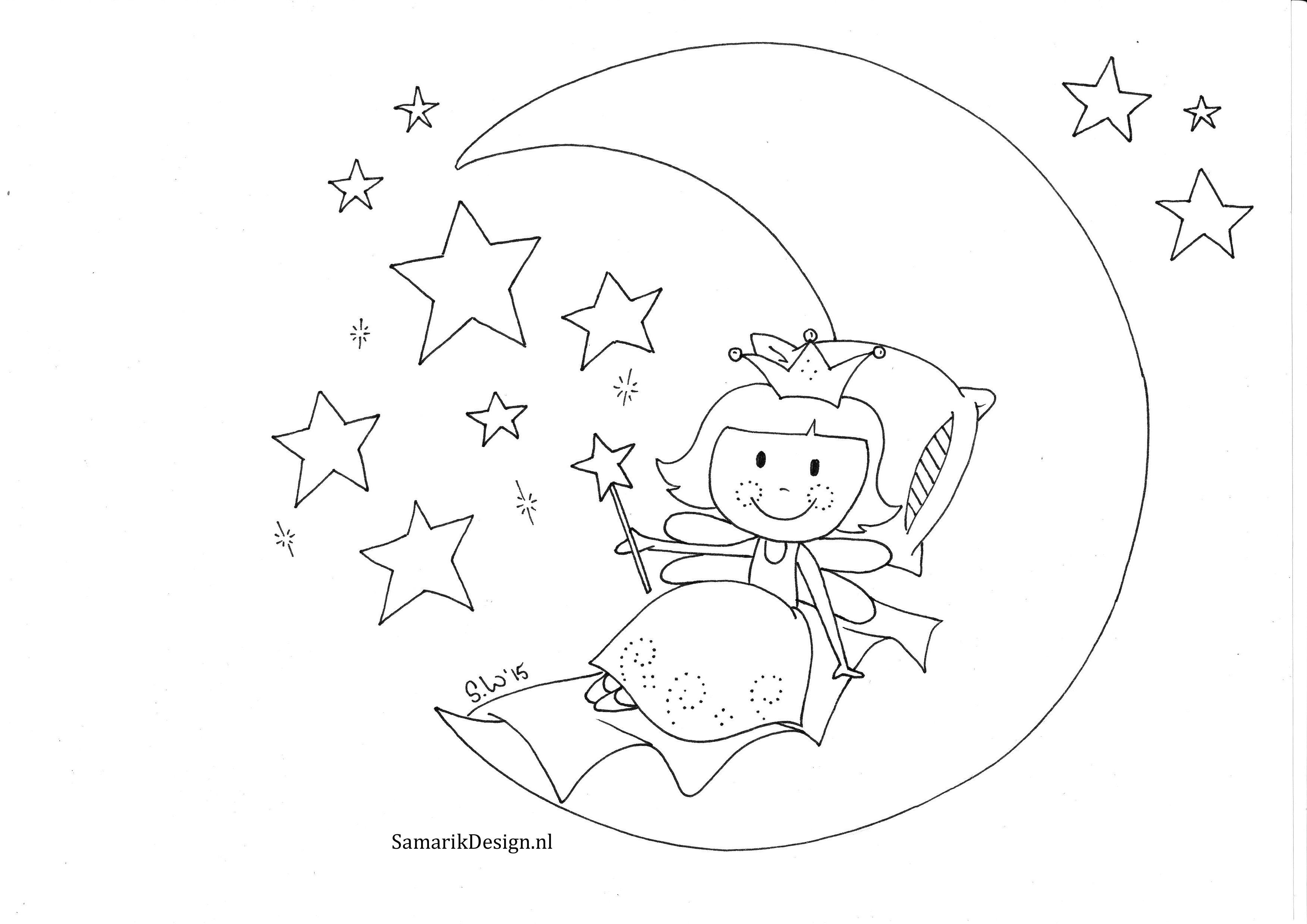 Kleurplaat Voor Volwassenen Moon Sandy Wijsbeek Kleurplaten