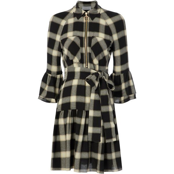 Derek Lam 10 Crosby Woman Gathered Checked Flannel Shirt Dress Black Size 00 Derek Lam mZ8bVJ2f
