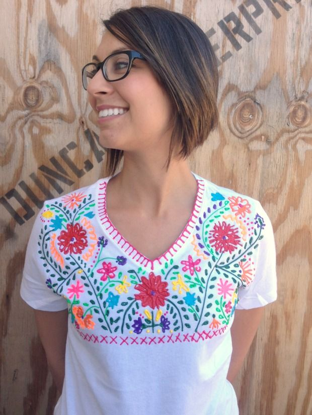 Faux mexi embroidered shirt puffy paint crafty and craft