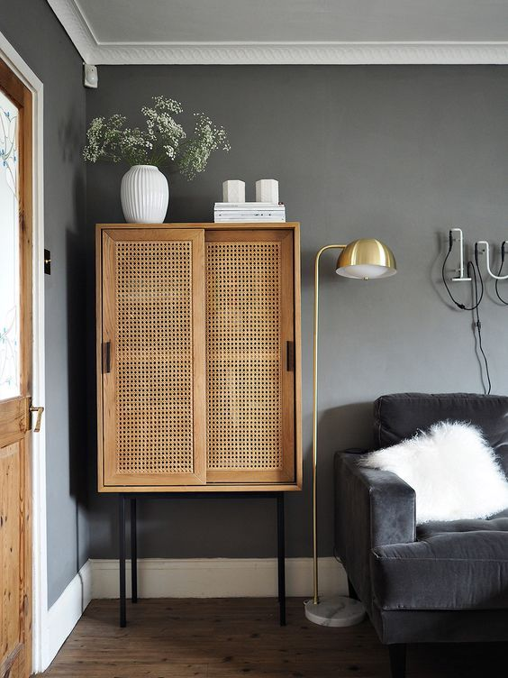 Receiving Room Interior Design: Be Modern Yet Unique With This Wicker Made Cabinet And