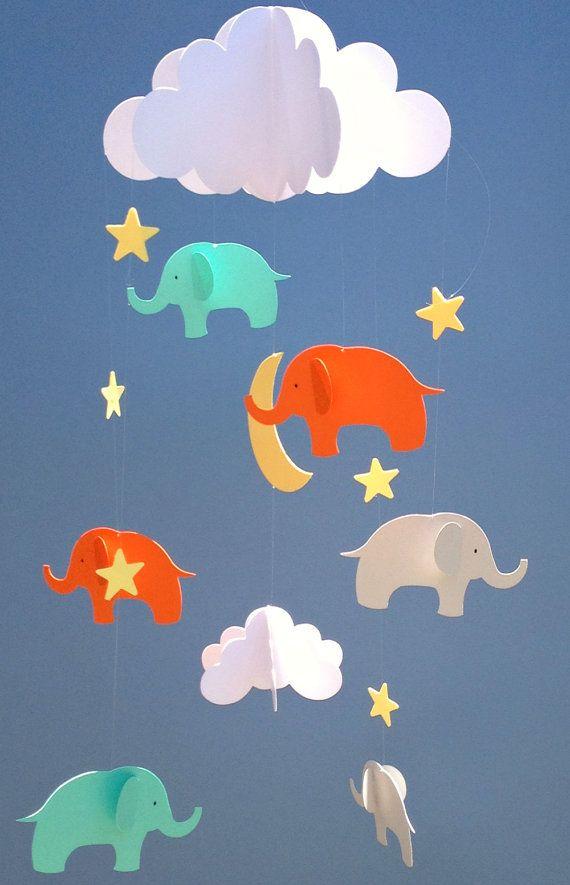 Bebé móvil elefante colgante bebé papel móvil/3D por goshandgolly ...