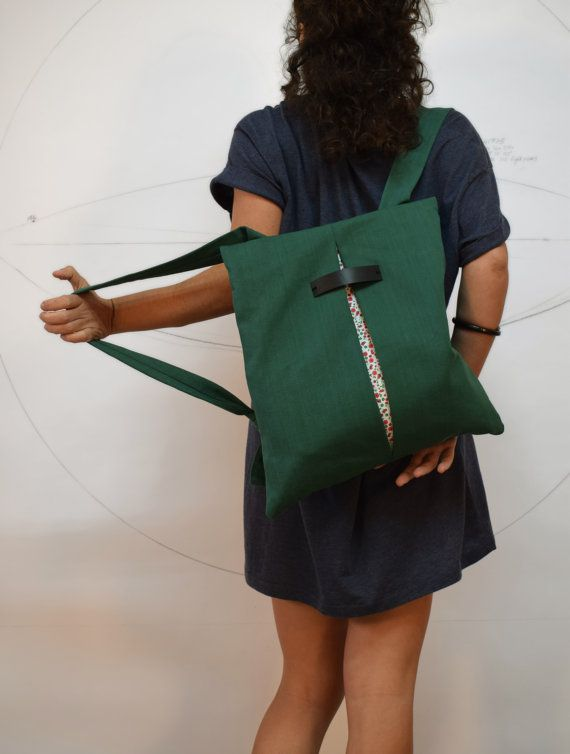 59e5fc0f64 Convertible backpack Messenger bag Green canvas bag Floral Chic women bag  College bag Lightweight bag Minimalist handmade bag Gift for her