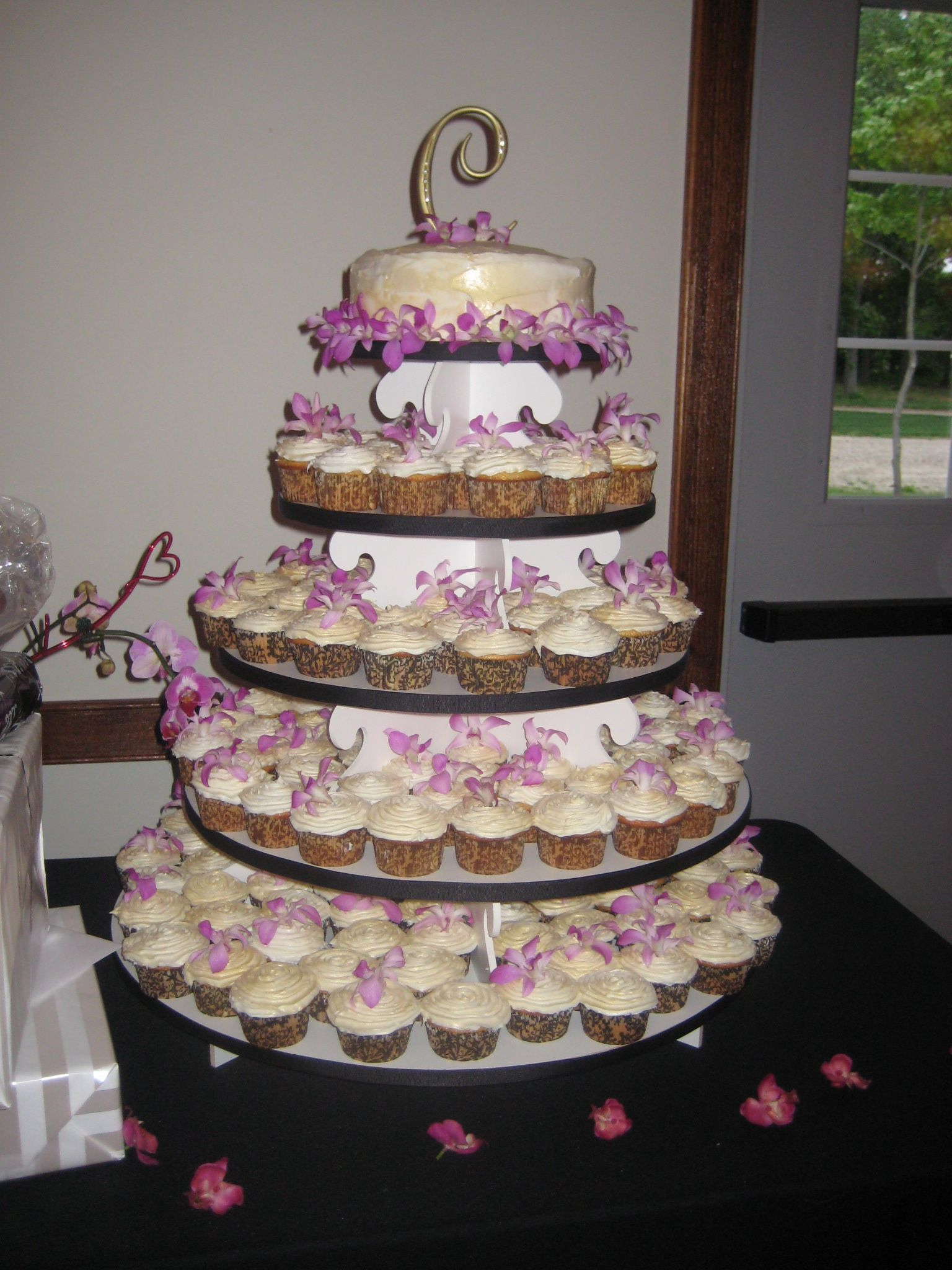 Cupcake Tower Wedding Cake With Fresh Orchids One Of The Cakes