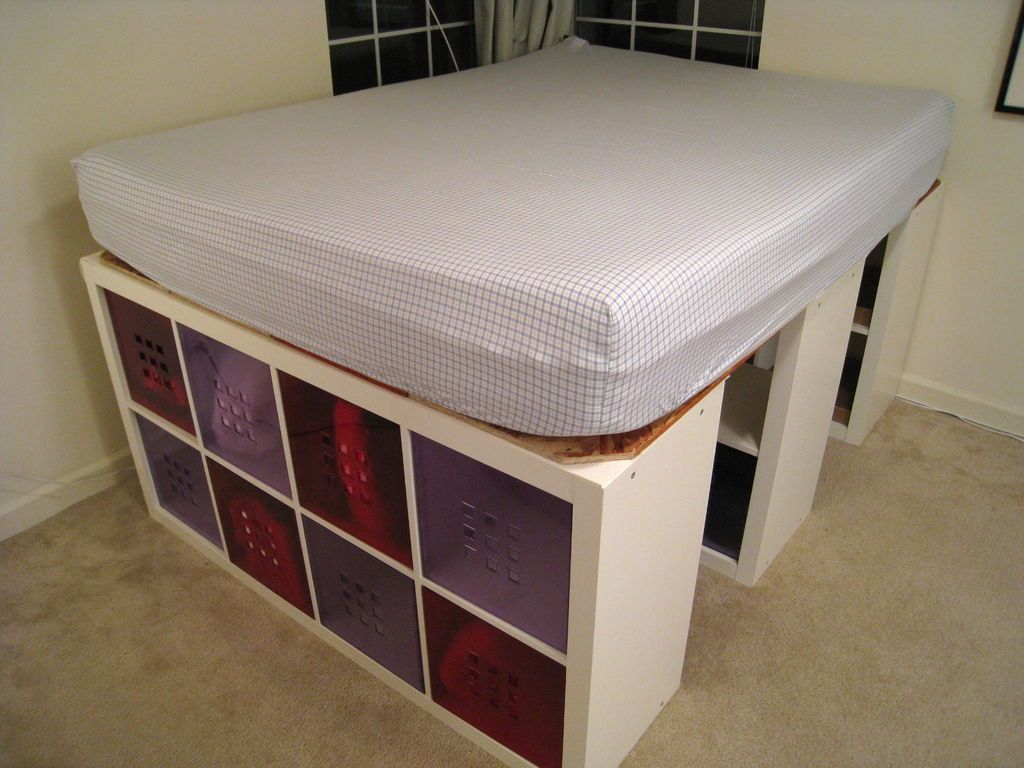 Raised Bed With Expedit Bookshelves For Storage Bed Frame With Storage Diy Bed Frame Platform Bed With Storage